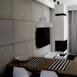 Salon i komniek z użyciem betonu